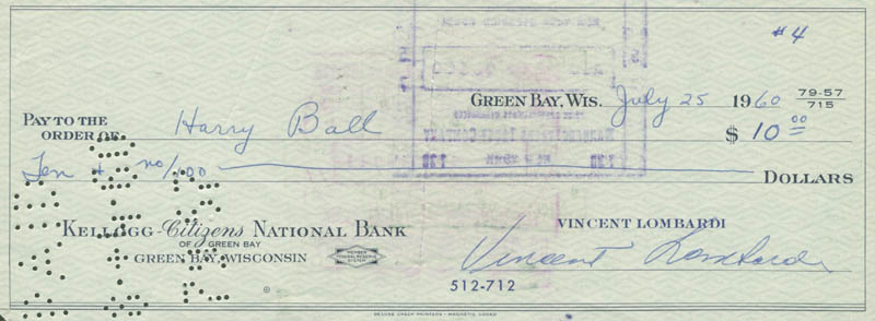 Image 1 for Vince Lombardi - Autographed Signed Check 07/25/1960 co-signed by: Harry Ball - HFSID 153424