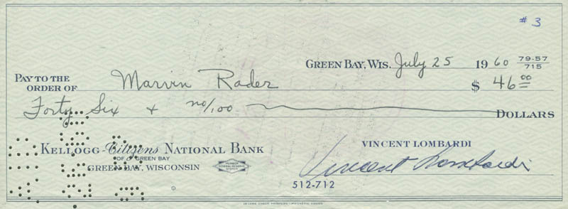 Image 1 for Vince Lombardi - Autographed Signed Check 07/25/1960 co-signed by: Marvin Rader - HFSID 153425