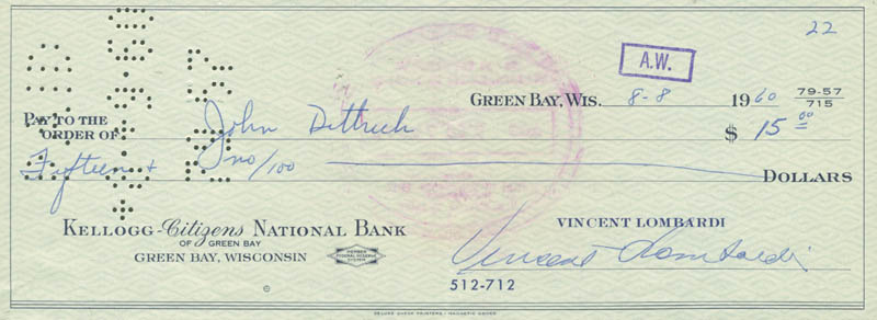 Image 1 for Vince Lombardi - Autographed Signed Check 08/08/1960 co-signed by: John Dittrich - HFSID 153427
