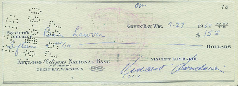 Image 1 for Vince Lombardi - Autographed Signed Check 07/27/1960 co-signed by: Ben Lauren - HFSID 153439