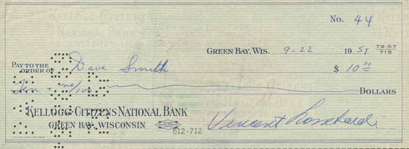 Image 1 for Vince Lombardi - Autographed Signed Check 09/22/1959 co-signed by: Dave Smith - HFSID 153446