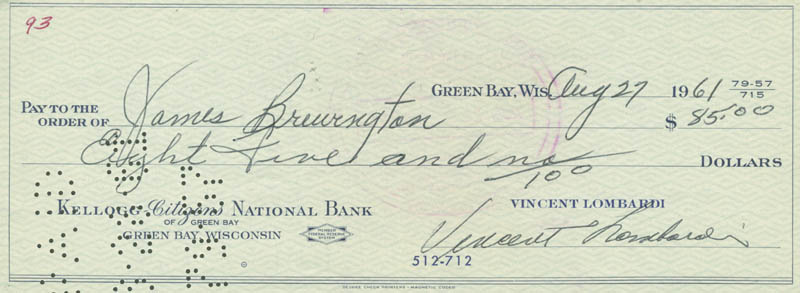 Image 1 for Vince Lombardi - Autographed Signed Check 08/27/1961 co-signed by: James 'The Champ' Brewington - HFSID 153469