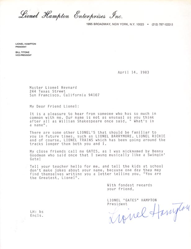 Image 1 for Lionel Hampton - Typed Letter Signed 04/14/1983 - HFSID 153509
