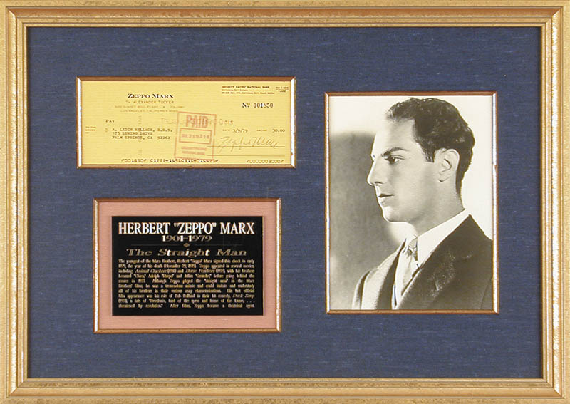 Image 1 for Zeppo (Herbert) Marx - Autographed Signed Check 03/09/1979 - HFSID 153549