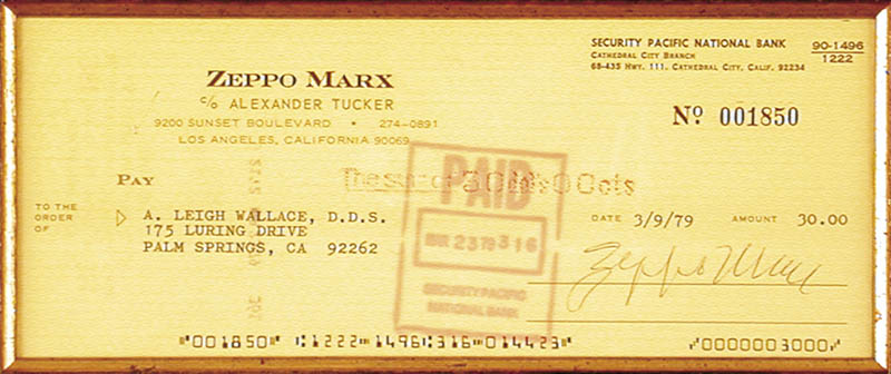 Image 3 for Zeppo (Herbert) Marx - Autographed Signed Check 03/09/1979 - HFSID 153549