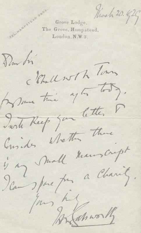 Image 1 for John Galsworthy - Autograph Letter Signed 03/20/1929 - HFSID 15358