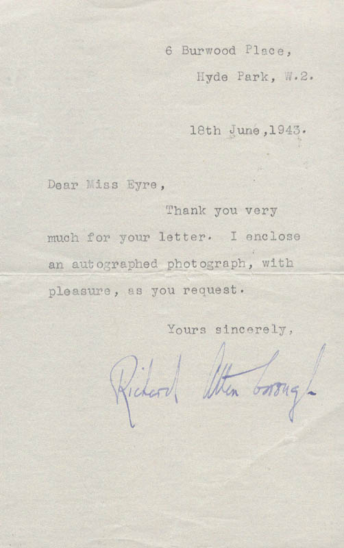 Image 1 for Sir Richard Attenborough - Typed Letter Signed 06/18/1943 - HFSID 153583
