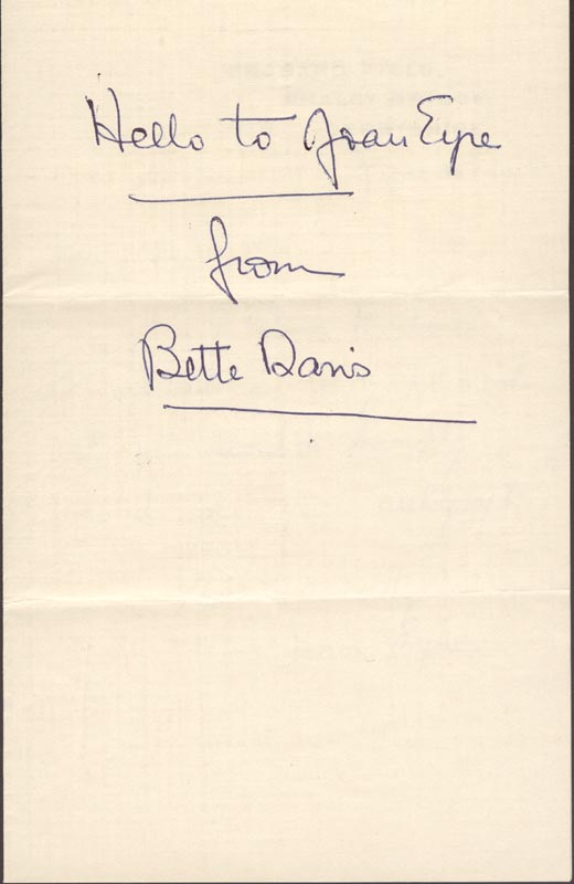Image 1 for Bette Davis - Inscribed Signature - HFSID 153585