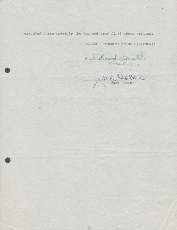 Image 1 for Jack Oakie - Contract Signed 10/15/1935 - HFSID 153797