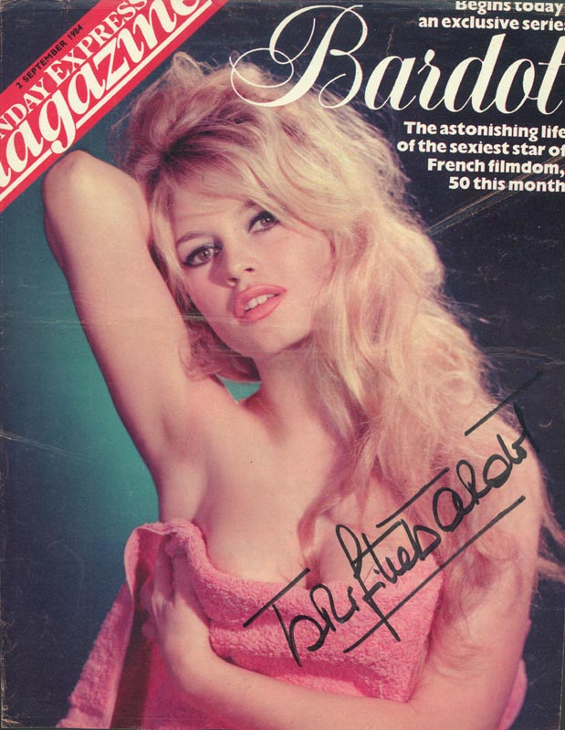 Image 1 for Brigitte Bardot - Magazine Cover Signed - HFSID 153864