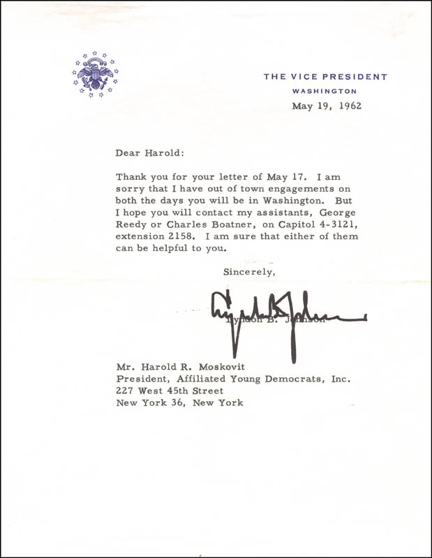 Image 1 for President Lyndon B. Johnson - Typed Letter Signed 05/19/1962 - HFSID 15398