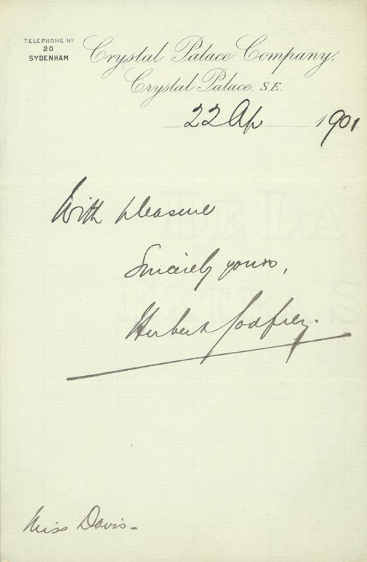 Image 1 for Herbert Godfrey - Autograph Sentiment Signed 04/22/1901 - HFSID 154258