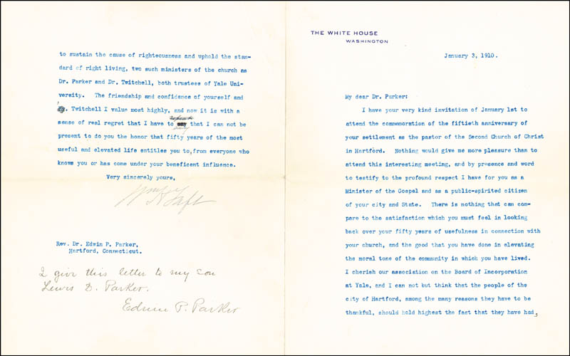 Image 1 for President William H. Taft - Typed Letter Signed 01/03/1910 co-signed by: Edwin P. Parker - HFSID 15437
