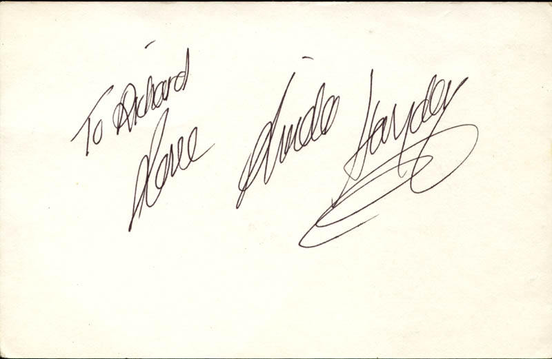 Image 1 for Linda Hayden - Autograph Note Signed - HFSID 154434