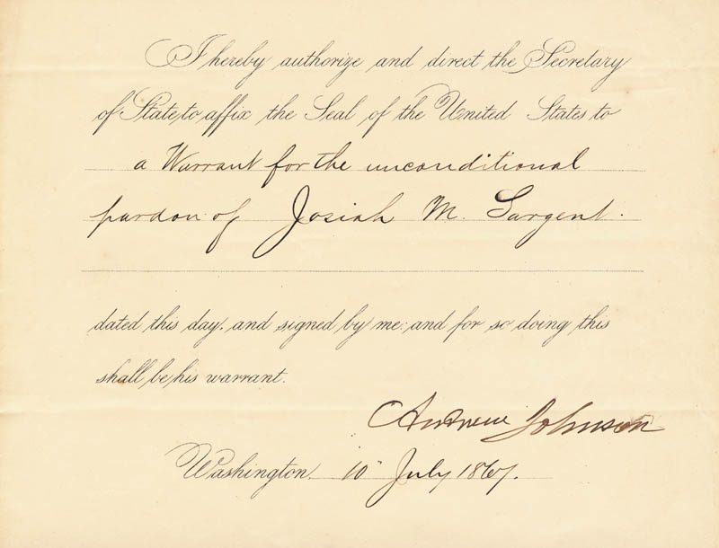 Image 1 for President Andrew Johnson - Presidential Warrant Signed 07/10/1867 - HFSID 15445