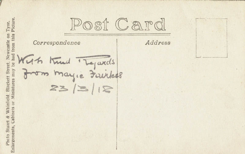 MARGARET FAIRLESS - PICTURE POST CARD SIGNED 03/23/1918 - DOCUMENT 154520