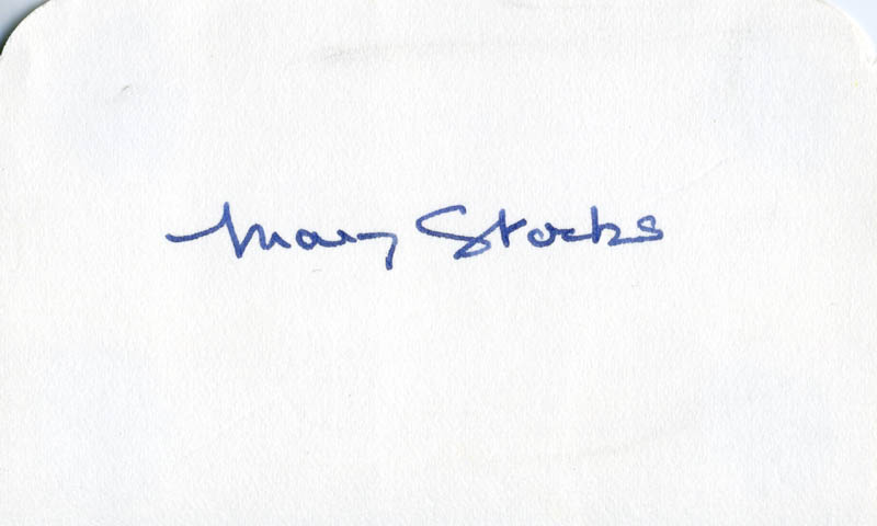 Image 1 for Mary Stocks - Autograph - HFSID 154567
