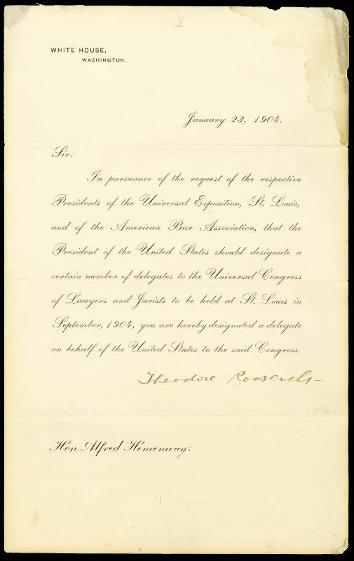 Image 1 for President Theodore Roosevelt - Printed Letter Signed In Ink 01/23/1904 - HFSID 154638