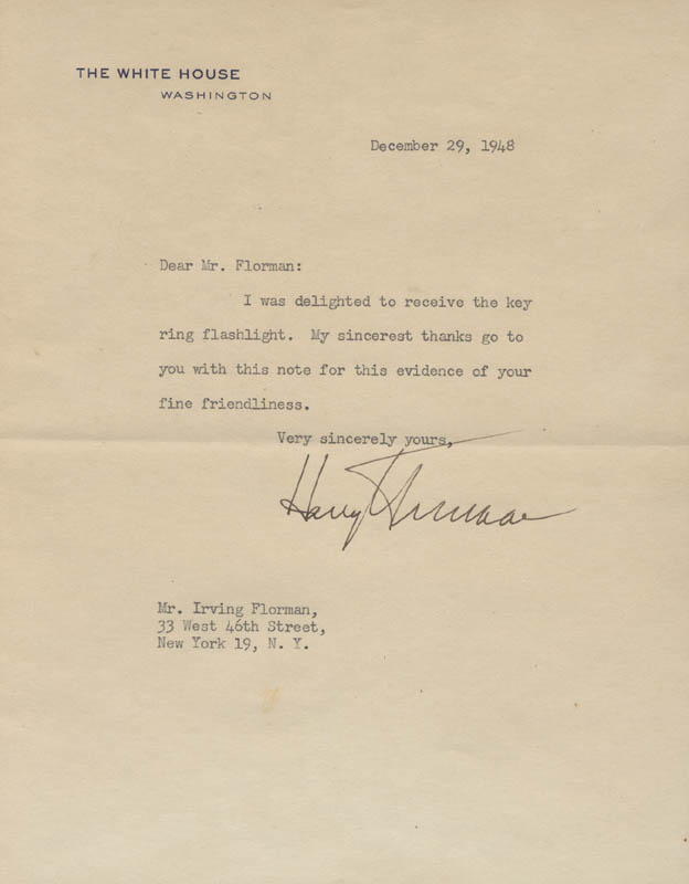 Image 1 for President Harry S Truman - Typed Letter Signed 12/29/1948 - HFSID 15465