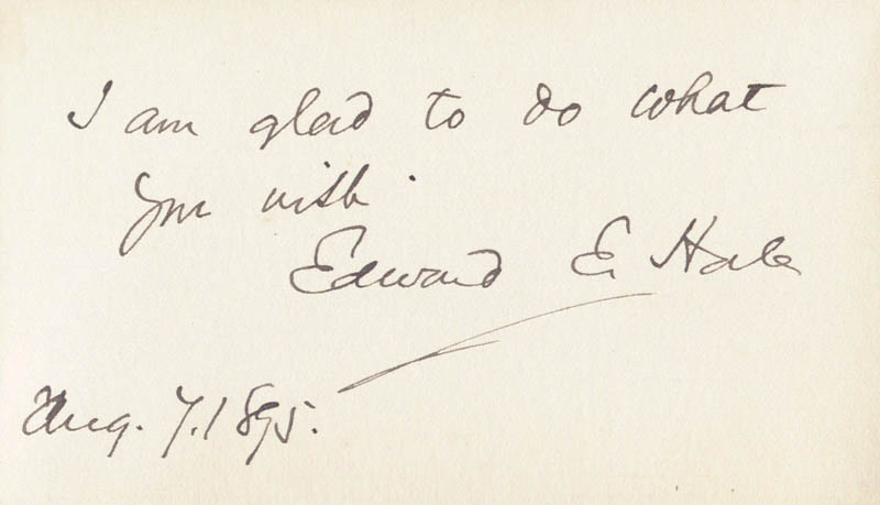 Image 1 for Edward Everett Hale - Autograph Note Signed 08/07/1895 - HFSID 154695