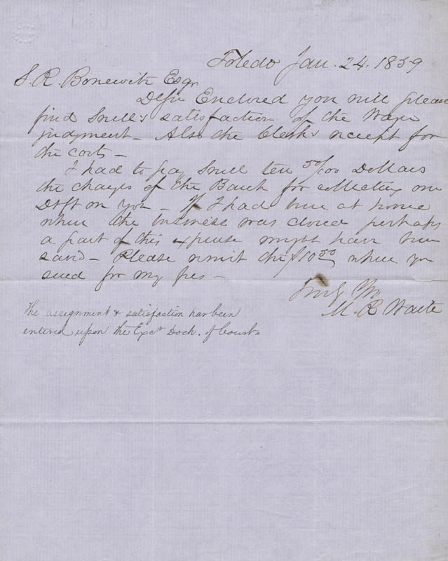 Image 1 for Chief Justice Morrison R. Waite - Autograph Letter Signed 01/24/1859 - HFSID 154736