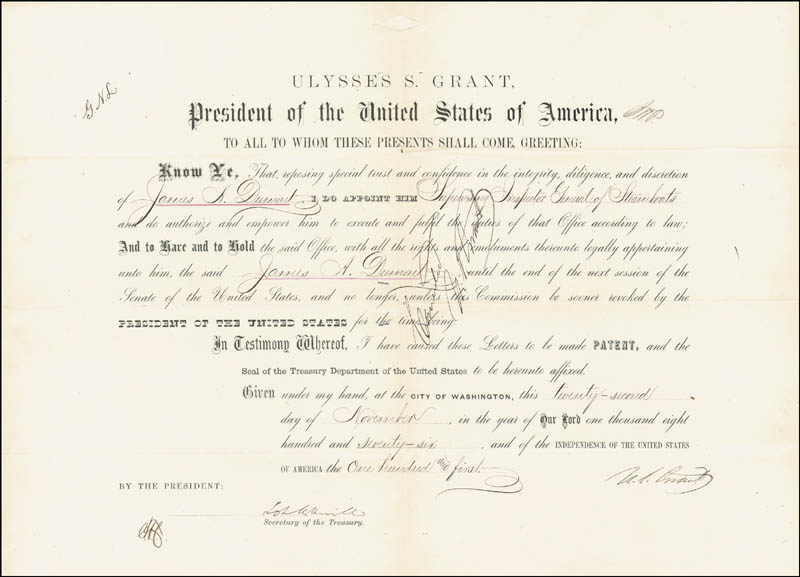 Image 3 for President Ulysses S. Grant - Civil Appointment Double Signed 11/22/1876 co-signed by: Lot M. Morrill - HFSID 154740