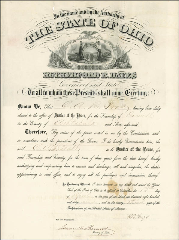 Image 3 for President Rutherford B. Hayes - Civil Appointment Signed 04/13/1869 co-signed by: Isaac R. Sherwood - HFSID 15475