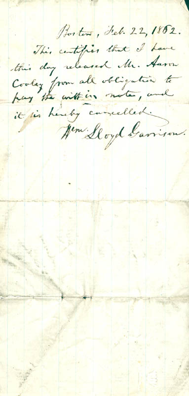 Image 1 for William Lloyd Garrison - Autograph Document Signed 02/22/1862 - HFSID 154771