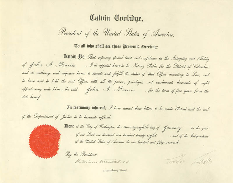 Image 1 for President Calvin Coolidge - Civil Appointment Signed 01/28/1928 co-signed by: William D. Mitchell - HFSID 15478