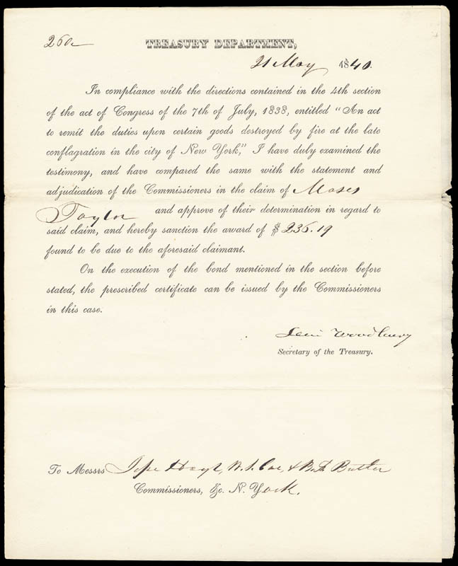 Image 1 for Associate Justice Levi Woodbury - Printed Document Signed In Ink 05/21/1840 - HFSID 154812