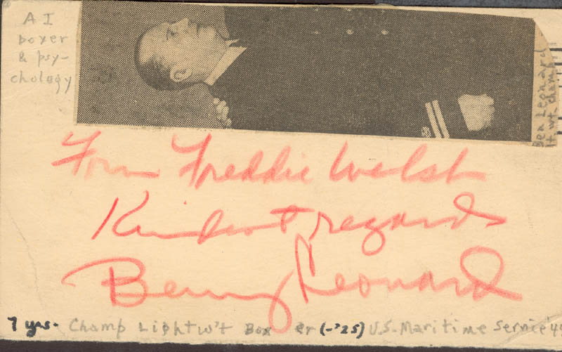 Image 1 for Benny 'The Ghetto Wizard' Leonard - Inscribed Post Card Signed 02/08/1944 - HFSID 155197