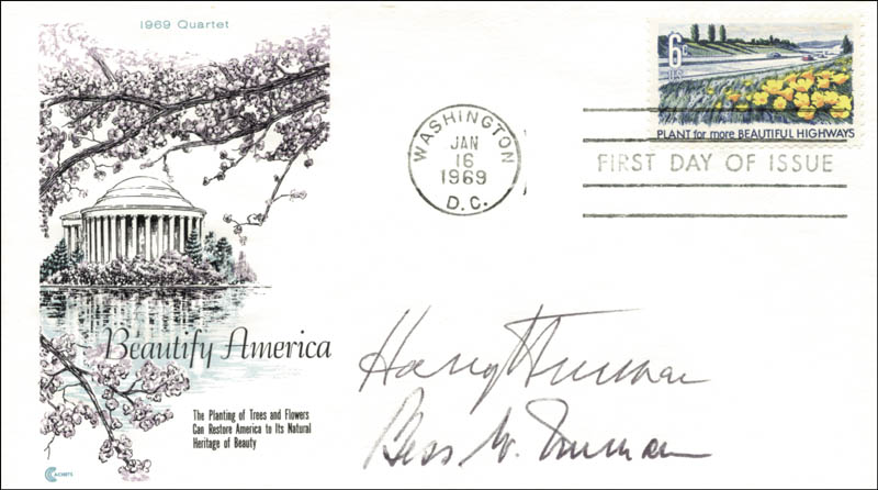 Image 1 for President Harry S Truman - First Day Cover Signed co-signed by: First Lady Bess W. Truman - HFSID 155380