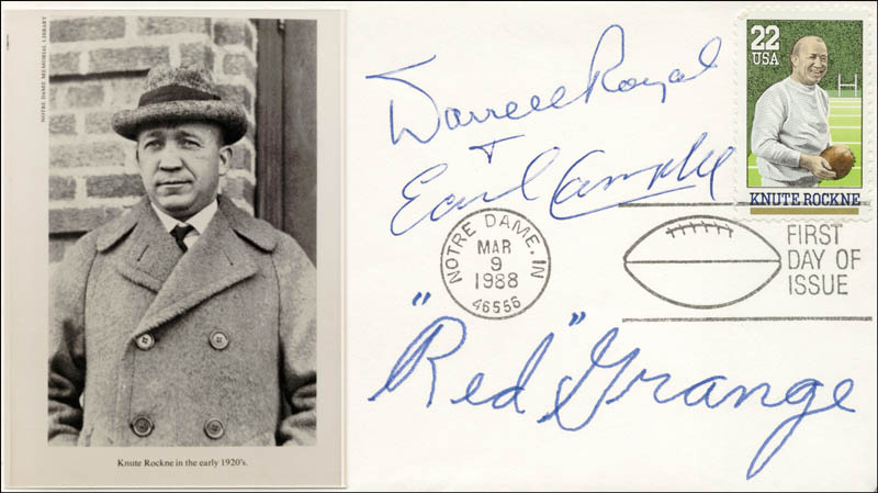 Image 1 for Red Grange - First Day Cover Signed co-signed by: Earl Campbell, Darrell Royal - HFSID 155530