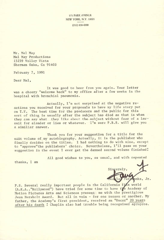 Image 1 for Douglas Fairbanks Jr. - Typed Letter Signed 02/07/1991 - HFSID 155573