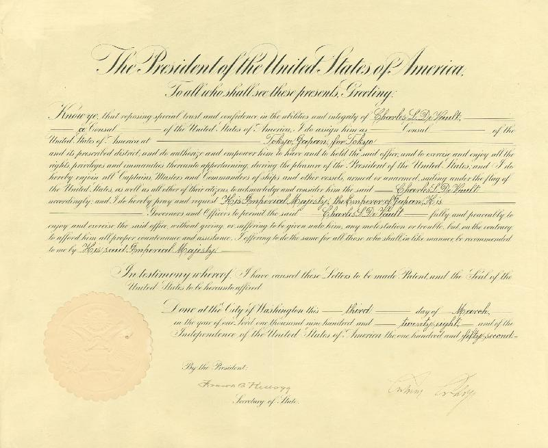 Image 3 for President Calvin Coolidge - Diplomatic Appointment Signed 03/03/1928 co-signed by: Frank B. Kellogg - HFSID 15564