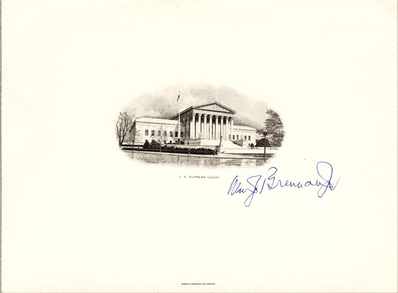 Image 1 for Associate Justice William J. Brennan Jr. - Supreme Court Engraving Signed - HFSID 155720