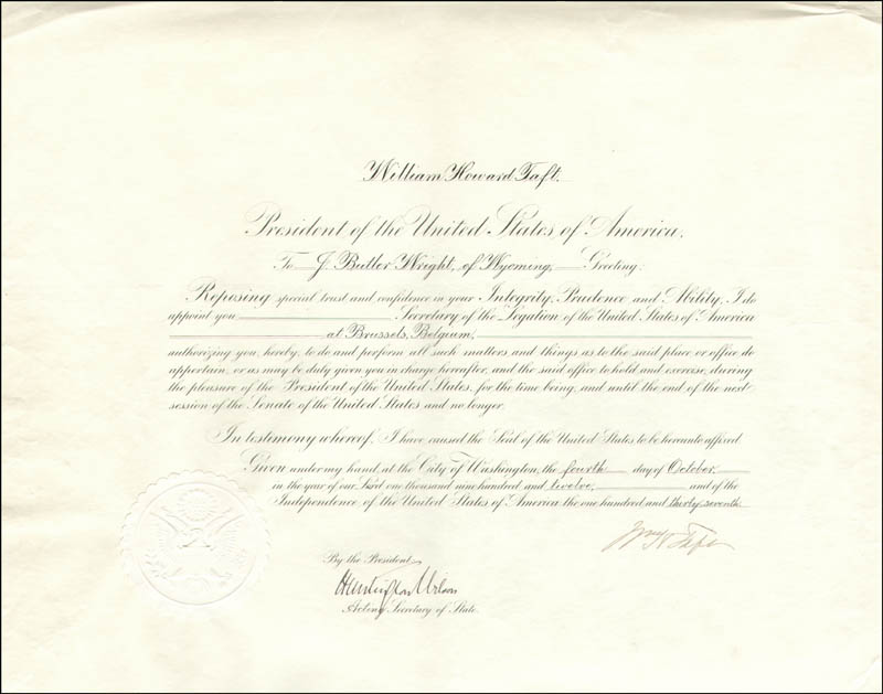 Image 1 for President William H. Taft - Diplomatic Appointment Signed 10/04/1912 co-signed by: Huntington Wilson - HFSID 15574