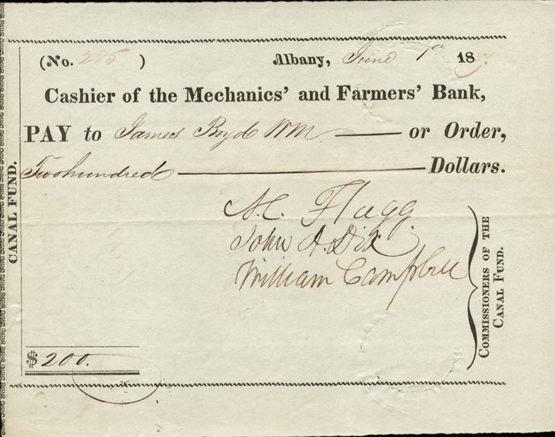 Image 1 for Major General John A. Dix - Autographed Signed Check 06/01/1837 co-signed by: Azariah C. Flagg, William Campbell - HFSID 155771