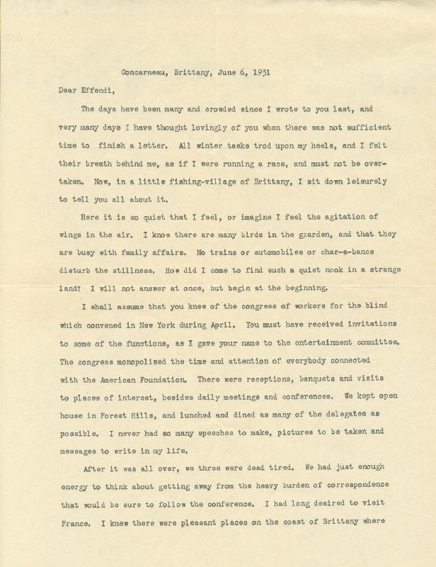 Image 1 for Helen Keller - Typed Letter Signed 06/06/1931 - HFSID 15583