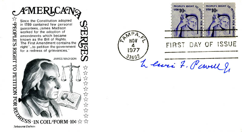 Image 1 for Associate Justice Lewis F. Powell Jr. - First Day Cover Signed - HFSID 155880
