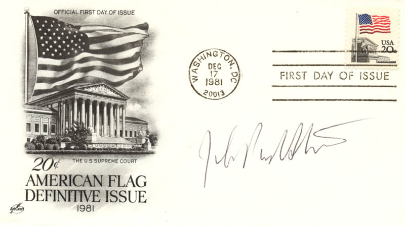 Image 1 for Associate Justice John Paul Stevens - First Day Cover Signed - HFSID 155894
