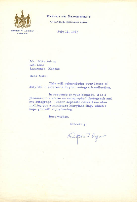 Image 1 for Vice President Spiro T. Agnew - Typed Letter Signed 07/12/1967 - HFSID 156026