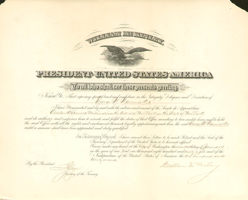 Image 1 for President William Mckinley - Civil Appointment Signed 01/17/1898 co-signed by: Lyman J. Gage - HFSID 15606