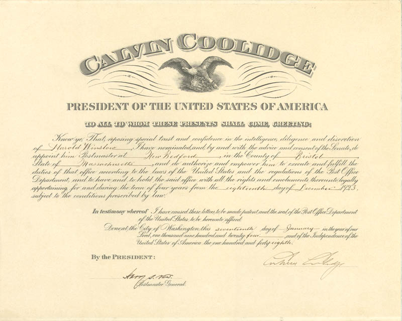 Image 1 for President Calvin Coolidge - Civil Appointment Signed 01/17/1924 co-signed by: Harry S. New - HFSID 15609