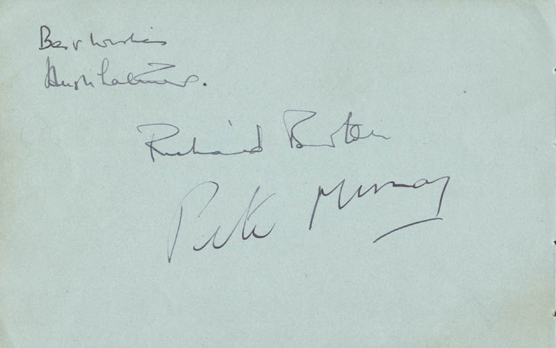 Image 1 for Richard Burton - Autograph co-signed by: Hugh Latimer, Peter Murray - HFSID 156109