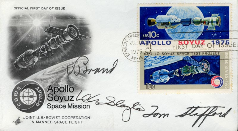 Image 1 for Apollo - Soyuz Crew - First Day Cover Signed co-signed by: Major Donald 'Deke' Slayton, Vance Brand - HFSID 156183