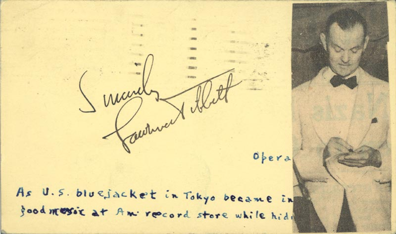 Image 1 for Lawrence Tibbett - Autograph Sentiment Signed Circa 1940 - HFSID 156364