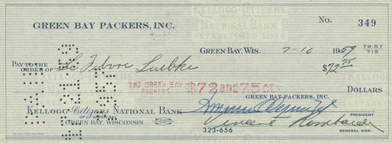 Image 1 for Vince Lombardi - Autographed Signed Check 07/16/1959 co-signed by: Dominic Olejniczak - HFSID 156498