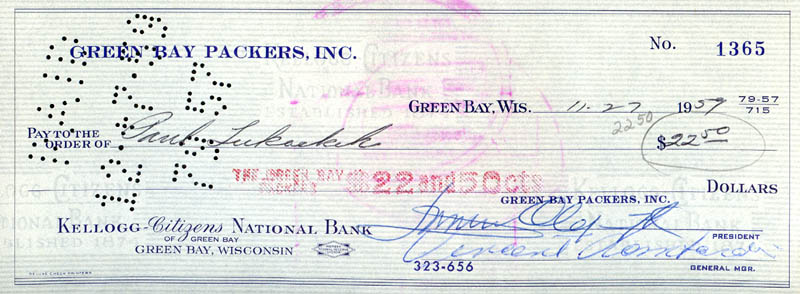 Image 2 for Vince Lombardi - Autographed Signed Check 11/29/1959 co-signed by: Dominic Olejniczak, Paul Lukachek - HFSID 156546