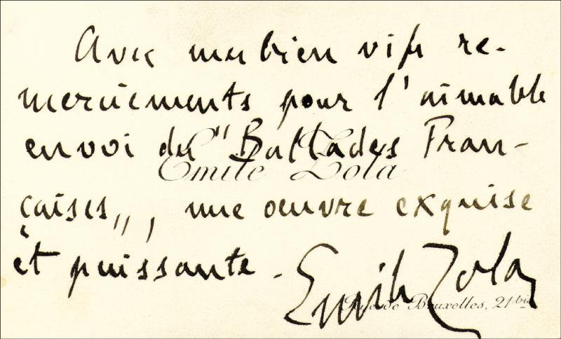 Image 1 for Emile Zola - Autograph Sentiment On Calling Card Signed - HFSID 156568